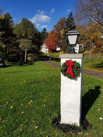 New Christmas Wreath on Entrance Pillar