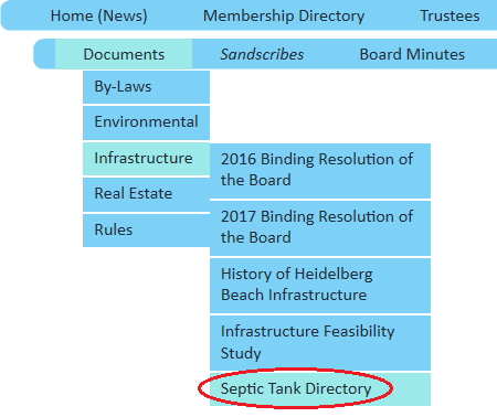 Location of Septic Tank Directory in Menus